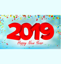 2019 3d sign sign numbers 2019 modern vector image