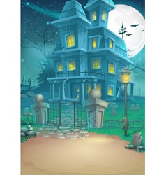 A haunted house on a moonlit night vector