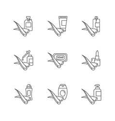 Aloe vera pixel perfect linear icons set cosmetic vector