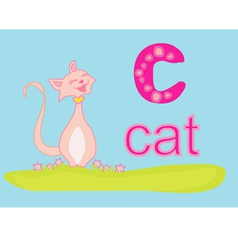 Animal alphabet C with cat vector