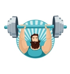 athlete lifting barbell strongman with a iron vector image
