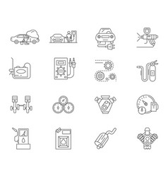 auto service station line icons signs set vector image