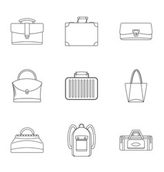 bags and suitcases icon set outline style vector image