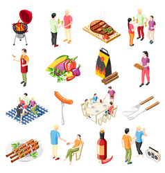 barbecue products icon set vector image