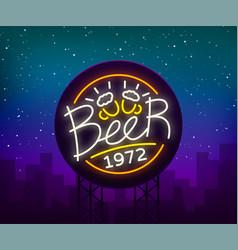 beer neon sign logo label emblem vector image