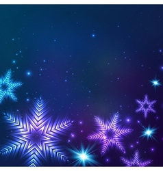 Blue cosmic snowflakes Christmas abstract vector image