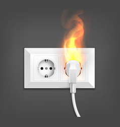 Burning socket realistic composition vector