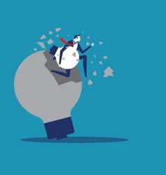 Businessman and breakthrough idea concept vector