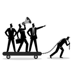 businessman dragging his bossy coworkers vector image