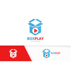 button play and box logo combination vector image