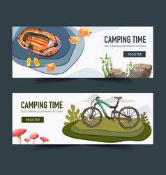 Camping banner design with bicycle boat watercolor vector