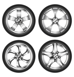 Car wheel set vector image vector image