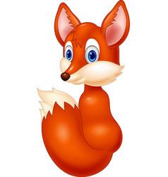 cartoon fox look back vector image