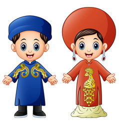 Cartoon vietnam couple wearing traditional costume vector