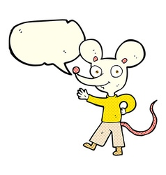 cartoon waving mouse with speech bubble vector image