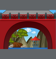 Chinese theme background with wall and pavillion vector