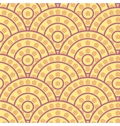 Circle With Flower Shape Seamless Pattern vector image