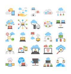 cloud technology and cloud servers flat se vector image