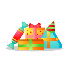 colorful gift boxes with different ribbon and vector image