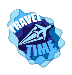 Cut paper travel background vector