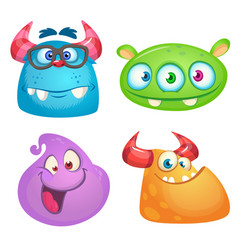 Cute cartoon monsters collection vector