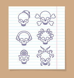 Cute line skulls on notebook page vector