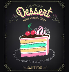 dessert cake chalking freehand drawing vector image