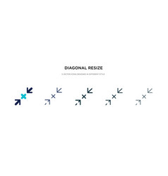 Diagonal resize icon in different style two vector