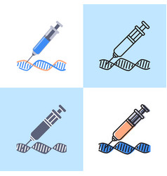 dna changing icon set in flat and line style vector image