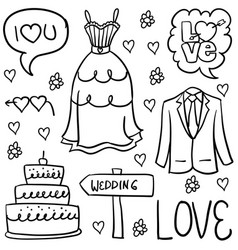 Doodle of wedding element art vector