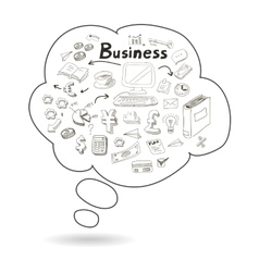 Doodle speech bubble icon with business vector image vector image