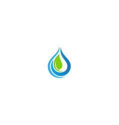 eco green leaf bio droplet pure water logo vector image