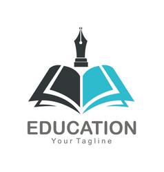 Education open book company logo vector