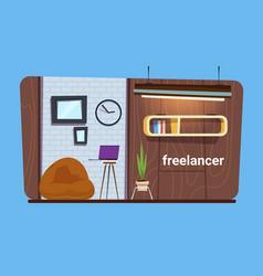 empty freelance worker workplace in modern vector image