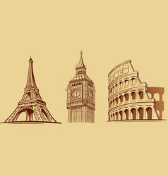 europe cities roma london paris monuments vector image