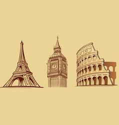 Europe cities roma london paris monuments vector