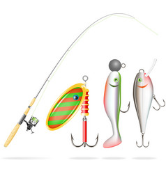 Fishing rod reel and lures vector
