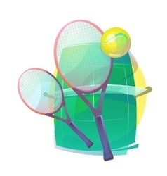 For tennis with wooden racks and ball vector