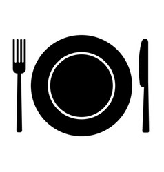 Fork knife and plate vector