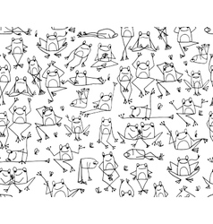 Funny frogs pattern sketch for your design vector image