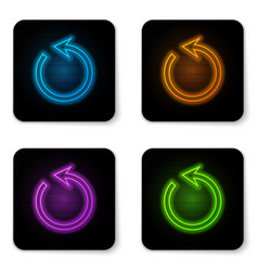 Glowing neon refresh icon isolated on white vector