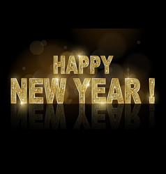 golden happy new year on dark bokeh background vector image