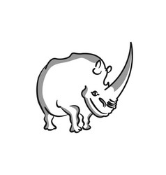 graphical rhinos isolated on white background vector image