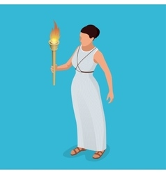 Greek woman with a torch in her hand Woman archer vector image