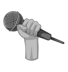 hand holding microphone icon monochrome vector image
