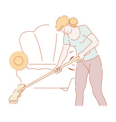 Housewife mopping floor with mop in living room vector