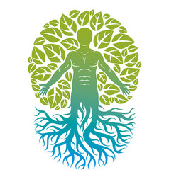 Human being created as continuation of tree with vector