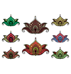 Indian paisley flower icons with ethnic pattern vector