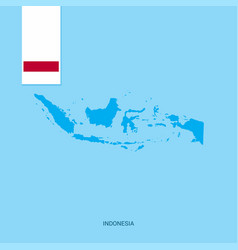 indonesia country map with flag over blue vector image