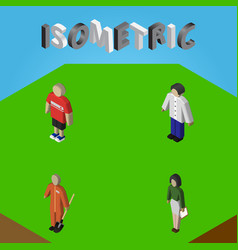 Isometric people set of male pedagogue cleaner vector